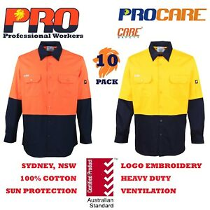 10-pack-Hi-Vis-Work-Shirt-vented-cotton-drill-long-sleeve-SafetyWORKWEAR-UNIFORM