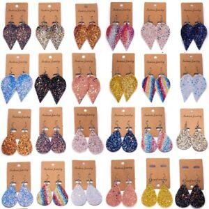 New-Glitter-Sequins-Teardrop-Leaf-PU-Leather-Boho-Dangle-Drop-Earrings-Jewelry