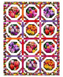 Elizabeth-039-s-Studio-Digital-Garden-Tulips-100-cotton-34-034-x-44-034-Fabric-panel