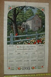 Vtg-Calendar-1992-Linen-Kitchen-Dish-Tea-Towel-Wall-Hanging-Water-Mill-Spring