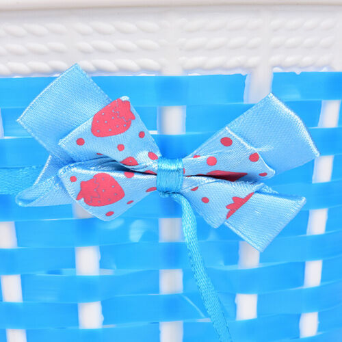 1pc Bicycle Basket Children Bike Plastic Knitted Bow Knot Front Handmade Bag√