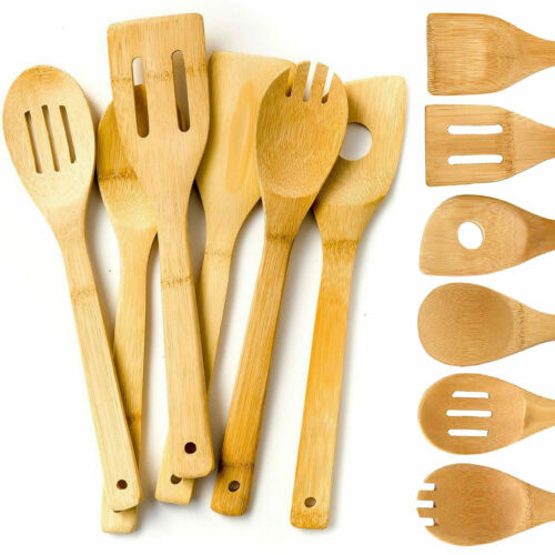 6 Piece Bamboo Utensil Set, Wooden Cooking Spoons and Spatul