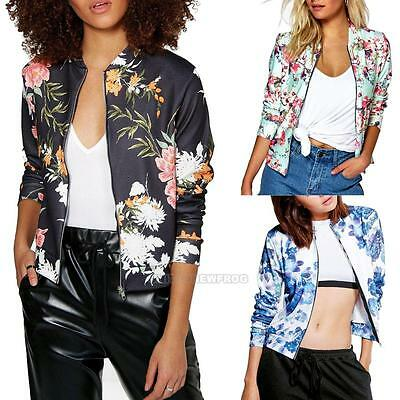 Fashion Women Varsity Classic Bomber Jacket Vintage Zipper Baseball Outwear Coat