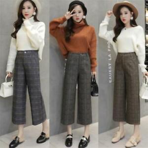 Womens-Plaid-Wool-Blend-Wide-Leg-Pants-High-Waist-OL-Casual-Cropped-Trousers-2XL