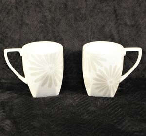 222-Fifth-Alice-Platinum-Square-Bottom-Coffee-Tea-Mugs-White-Floral-LOT-of-2