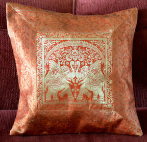 Brocade-Silk-Pillow-Cover-in-Orange-Color-with-Gold-Color-from-India