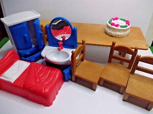 Diplomatique Lot Mixte Meubles Dollshouse Plastique Utilisé Vintage Dollhouse Preloved-afficher Le Titre D'origine Circulation Sanguine Tonifiante Et Douleurs D'ArrêT