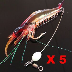 5-Soft-Plastic-Fishing-Lures-Tackle-Prawn-Shrimp-Flathead-Bream-Cod-Bass-Lure
