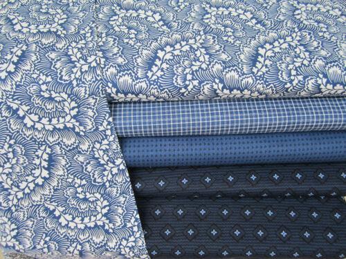 Dylan by Whistler Studios Blue Tan Floral Range Fabric FAT Quarter Bundle x 4