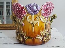 Superbe cache pot Onnaing décor de dahlias barbotine Art Nouveau - 20545