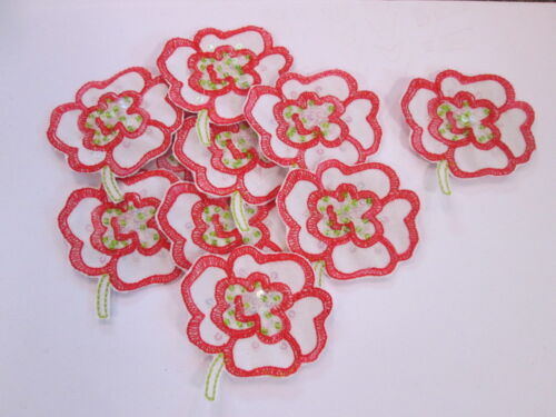 Red Beaded Embroidered Flower Arts Crafts Card Making Motifs #5A93 Pack of 10