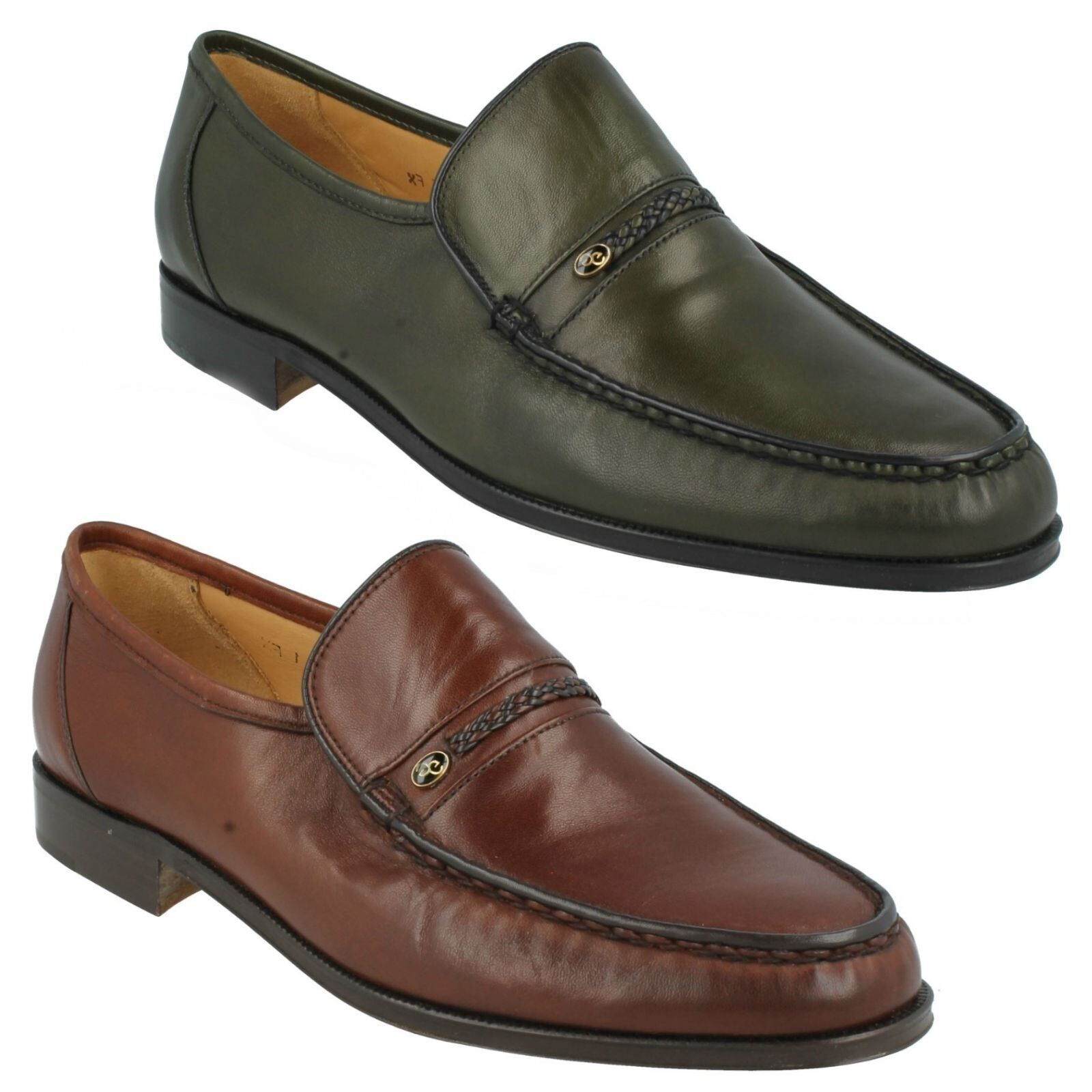 AMOS MENS GRENSON BROWN GREEN PLAIN LEATHER SLIP ON MOCCASIN SMART FORMAL SHOES