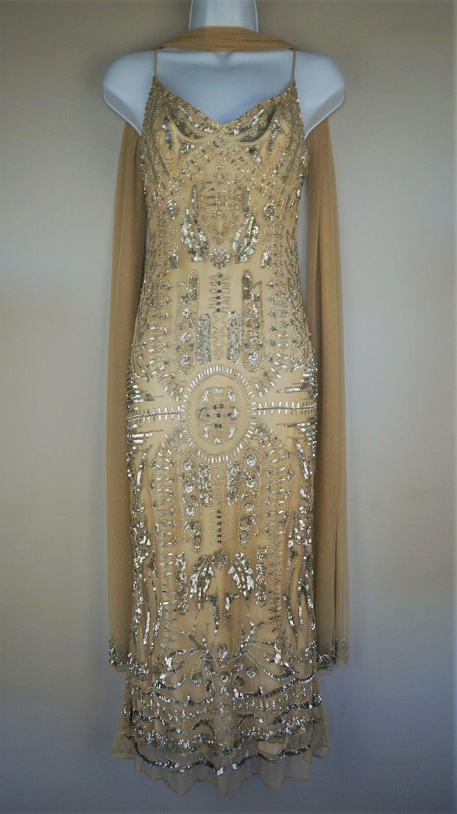 SUPERBE Jovani EntièreHommest Perlé Robe nude Gatsby Style Soirée Occasion Robe SZ 8