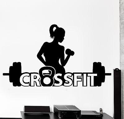 z2992 Wall Sticker Sport Activity Woman Girl Crossfit Fitness Vinyl Decal