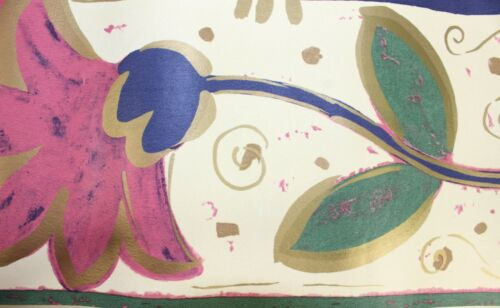 INDES 17.5cm x 5m Wallpaper BORDER Floral Trail Bold Blue Green Purple Brown