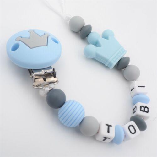 Schnullerkette mit Namen Jungen ★ Silikon Krone babyblau grau Baby Geschenk