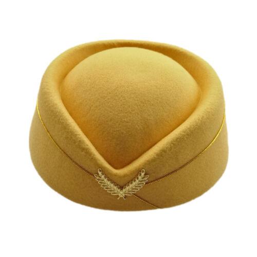 Fashion Women Wool Hat Stewardess Air Hostesses Cap Cosplay Uniform Hat Decor