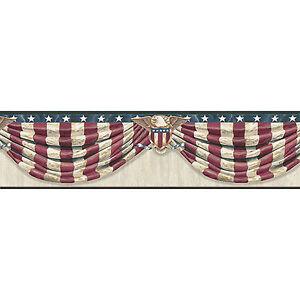 Antique-Stars-amp-Stripes-Forever-Swag-Easy-Walls-Wallpaper-Border-CTR63172B