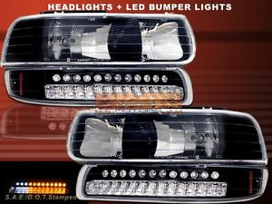 1999 2002 chevy silverado 00 06 tahoe suburban headlights led bumper lights ebay