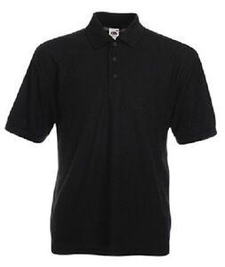 Fruit Of The Loom Mens 65 35 Heavyweight Plain Black Polo Shirt No