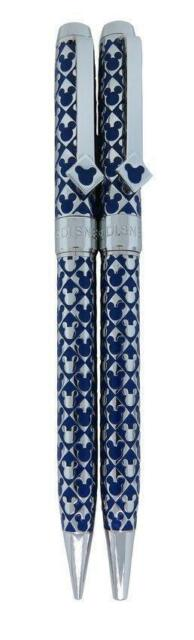 Disney Mickey Mouse Limited Edition Silver Tone Blue Inlay Pen & Pencil Set