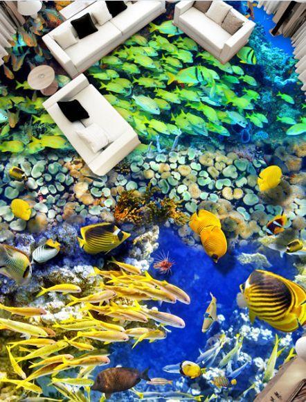 3D sea Fisch Wasser 017 Fototapeten Wandbild Fototapete Bild Tapete Famili