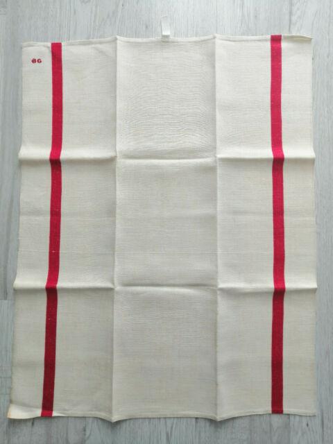PAIR VINTAGE FRENCH LINEN TORCHONS TEA TOWELS UNUSED MONO T C RED STRIPES