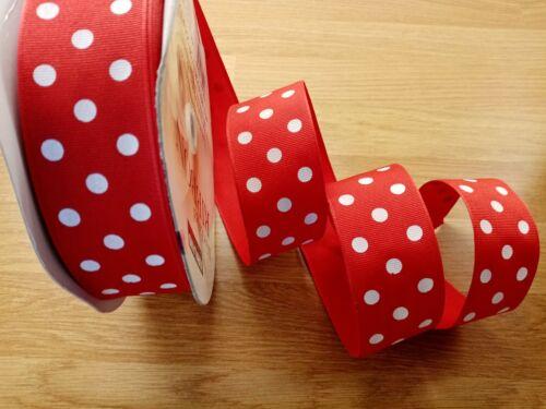 "3.8cm Valentine Red White Dots Grosgrain Luxury Wire Edged  Ribbon  1.5/"""