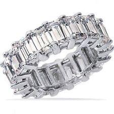 11.51 ct Emerald Cut PLATINUM DIAMOND BAND ETERNITY RING E-F color VVS size 6