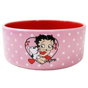 Image Is Loading Betty Boop Ceramic Dog Bowl Pink Polka Dot