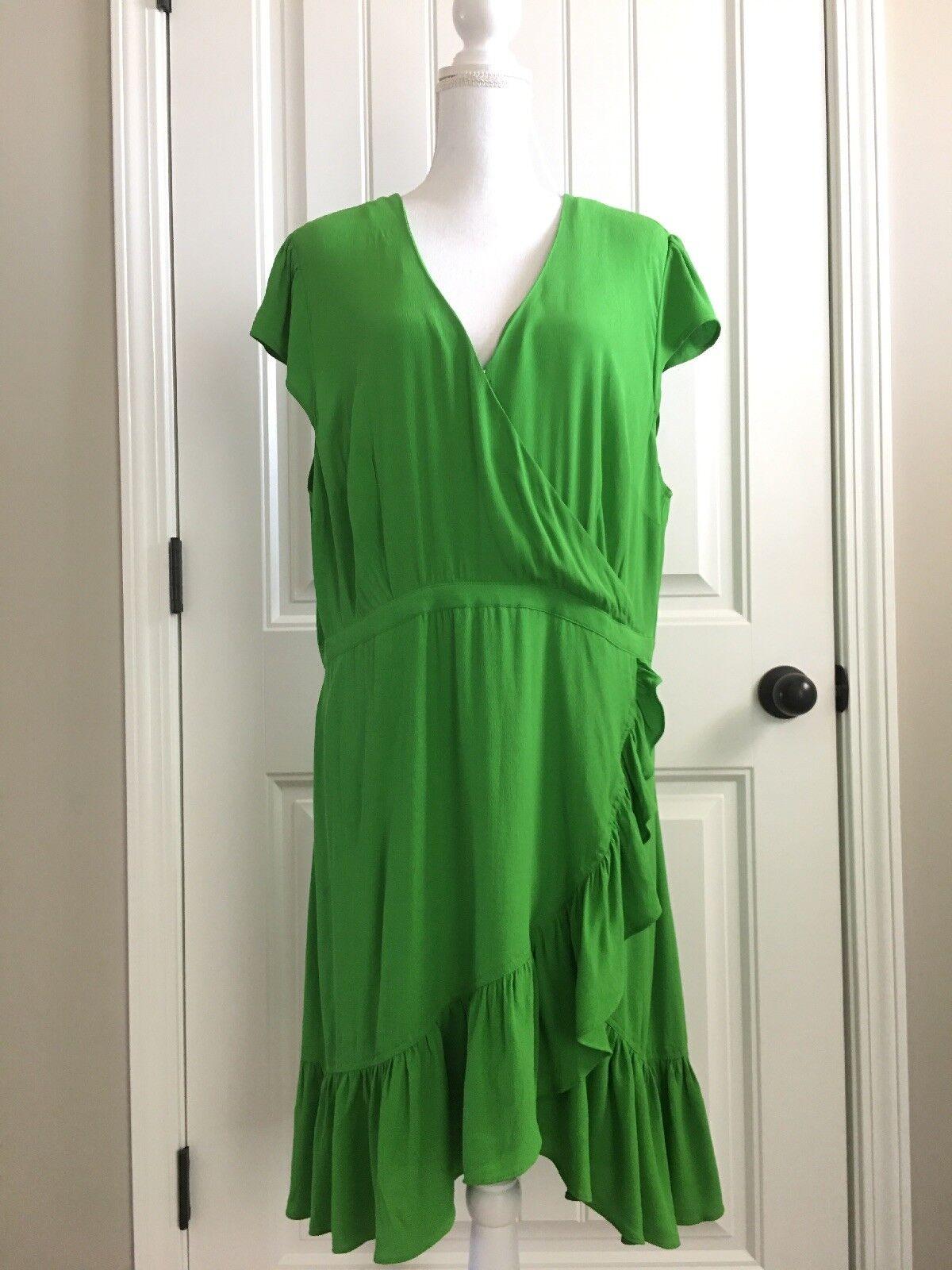 New J Crew Faux-wrap Mini Dress in Drapey Crepe Bright Green Sz 20 J1652