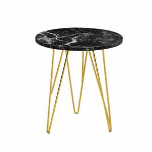 Details About Black Marble Effect Top Round Side Lamp End Coffee Table With Gold Metal Legs