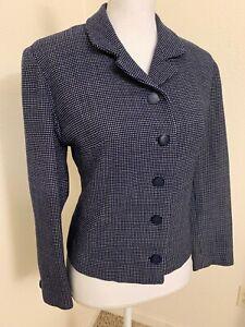 Blazer in lana vintage, giacca blazer a righe 1950, grigio