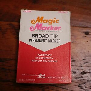 Box 12 NEW Vtg MAGIC MARKER Model 79 Waterproof Broad Tip RED Permanent Ink