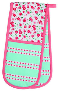 Kitchen-Craft-Ditsy-Floral-Pink-amp-Blue-Double-Oven-Glove-Mitt