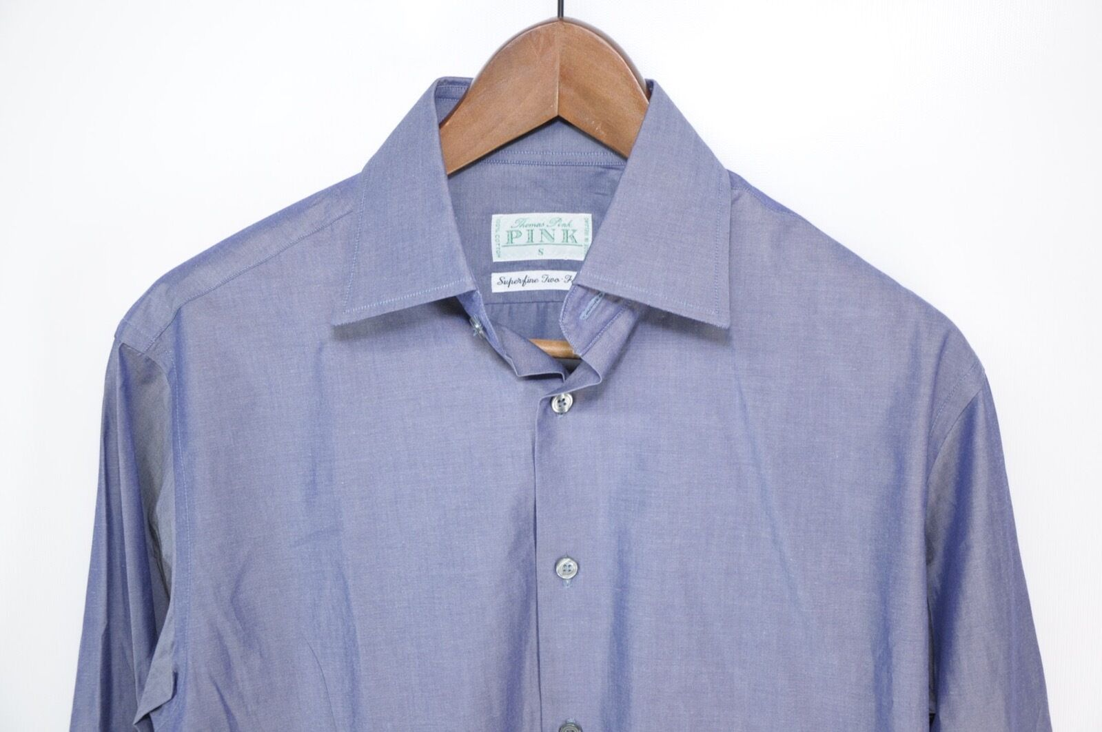 NWT Thomas Pink Superfine Two-Fold Solid bluee Spread Collar Shirt Ireland Small