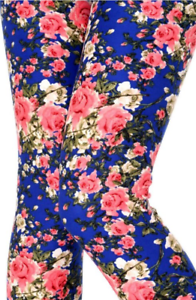 Buttery Soft Brushed Leggings Pink Blue Roses Floral Boho Print ONE SIZE OS 2-12