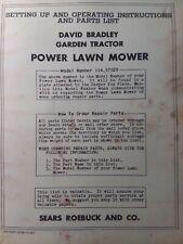 Sears David Bradley Tractor Reel Mower Implement Owner Amp Parts Manual 11457529