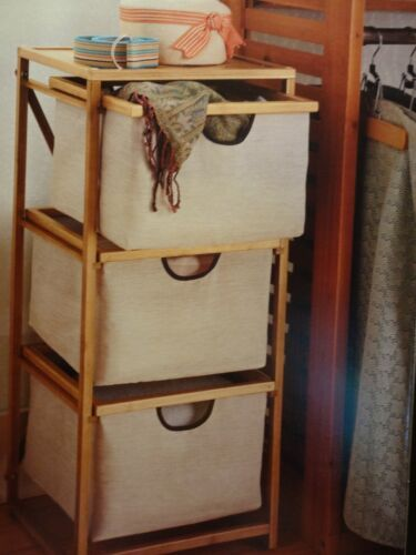 3 Drawer Cart with Three Durable Lightweight Bamboo /& Canvas Drawers