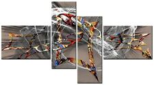 4 PANNELLO totale 138x78cm CANVAS DIGITAL Wall Art Astratto Stampa Fumetti Grigio