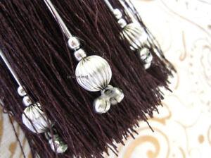 Marrone-amp-tasto-d-039-argento-nappa-with-silver-decorativo-perline-Grande