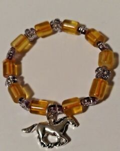 Fashion-Bracelet-for-Little-Girls-Glass-Beads-Silver-Beads-and-Horse-Charm-NEW