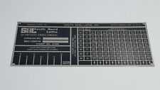 South Bend Lathe Heavy 10l Thread Threading Plate Tag Chart No 6752r