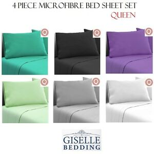 4-Piece-Microfibre-Bed-Sheet-Set-Flat-Fitted-amp-Pillow-Cases-QUEEN-6-Colours