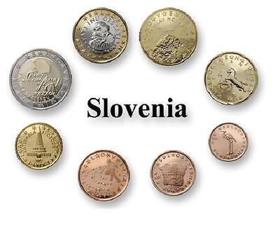 Serie Euros ESLOVENIA 2007 desde 1 ctmo hasta 2 euros todas año 2007 Slovenia