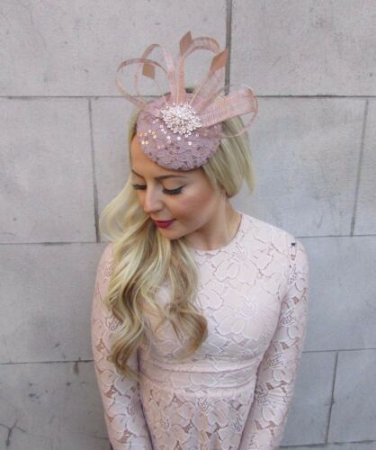 Nude Sequin Feather Pillbox Hat Fascinator Formal Races Ascot Hair Clip 4454