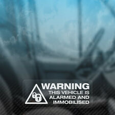 3x WARNING VEHICLE ALARMED AND IMMOBILISED Security Car,Van,Taxi,Window Stickers