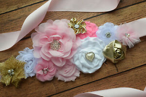 Sash Pink Gold White Sash Flower Belt Maternity Sash Baby Shower