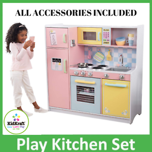 Details about Wooden Deluxe Kitchen Colorful & Big With Accesories For  Christmas Gift KidKraft