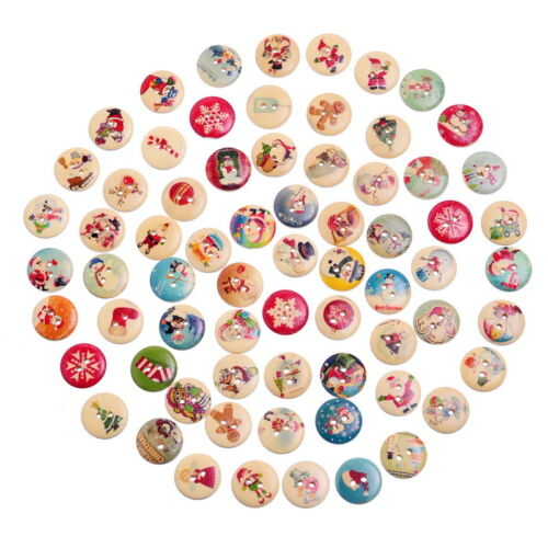 Wholesale W09  Mixed Christmas Pattern Sewing Wooden Buttons DIY Scrapbook